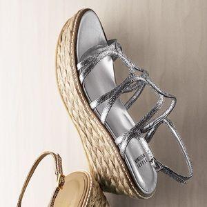 Stuart Weitzman Metallic Glitter Foursome Sandal